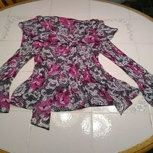 Flared sleeved size L wide collar blouse   119